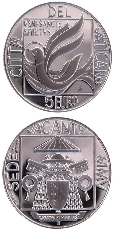 Image of Sede Vacante  – 5 euro coin Vatican City 2005.  The Silver coin is of Proof quality.