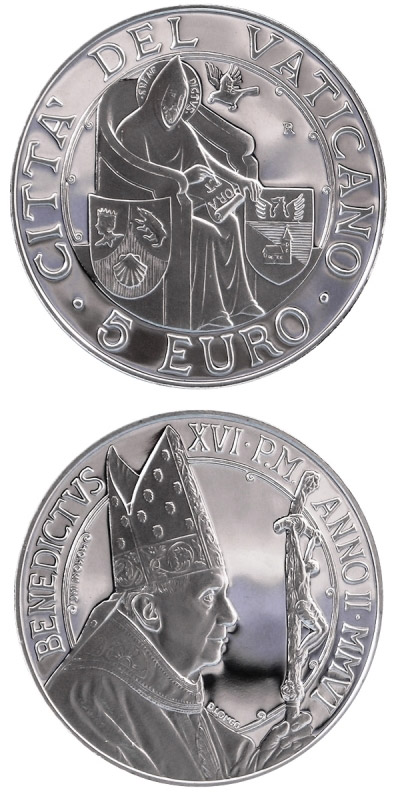 Image of 5 euro coin – 39th World Day of Peace | Vatican City 2006.  The Silver coin is of Proof quality.