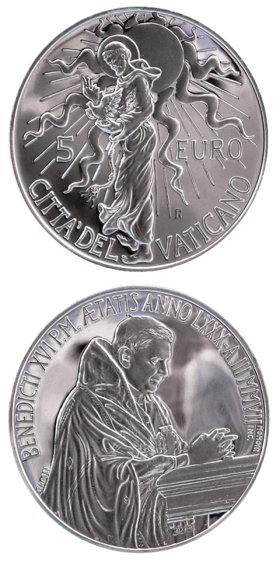 Image of a coin 5 euro | Vatican City | 40th World Day of Peace | 2007