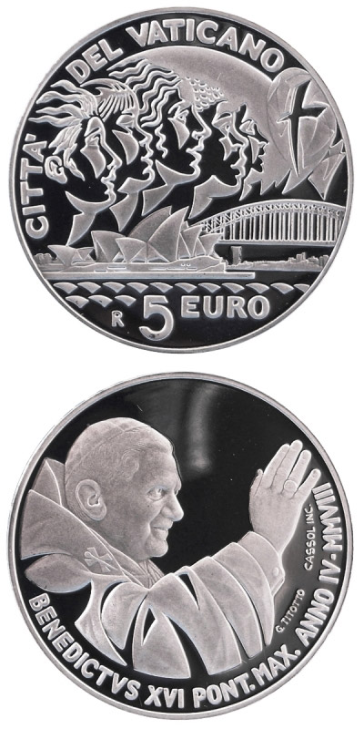 Image of 5 euro coin XXIII. World Youth Day in Sydney 2008  | Vatican City 2008.  The Silver coin is of Proof quality.