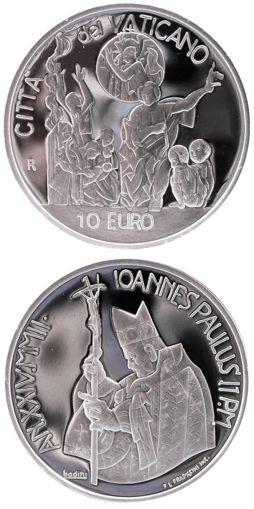 Image of 10 euro coin 35th World Day of Peace  | Vatican City 2002.  The Silver coin is of Proof quality.