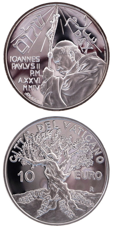 Image of 10 euro coin - 37th World Day of Peace  | Vatican City 2004.  The Silver coin is of Proof quality.