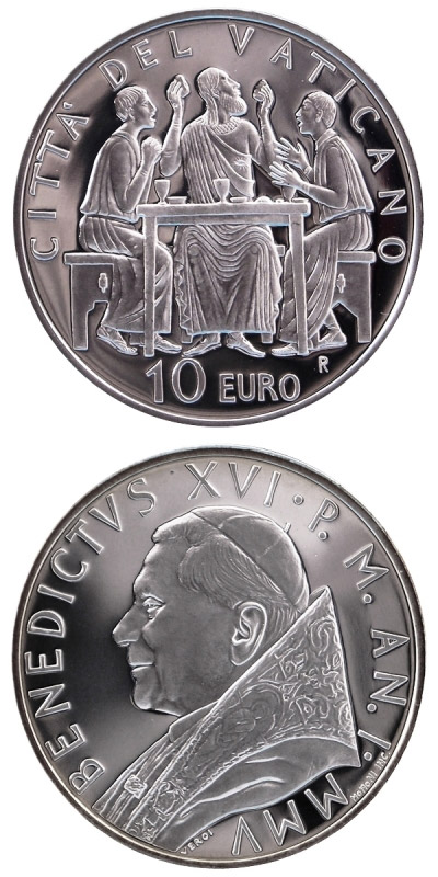Image of Year of the Eucharist  – 10 euro coin Vatican City 2005.  The Silver coin is of Proof quality.