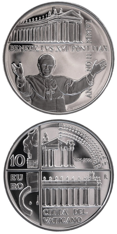 Image of 10 euro coin 350 years colonnades in St. Peter's Square in Rome  | Vatican City 2006.  The Silver coin is of Proof quality.