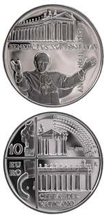 10 euro coin 350 years colonnades in St. Peter's Square in Rome  | Vatican City 2006