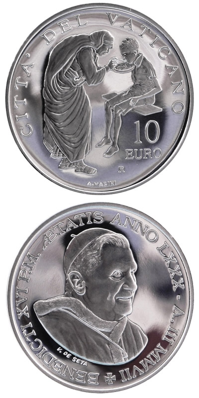 Image of 10 euro coin – 81st World Mission Day  | Vatican City 2007.  The Silver coin is of Proof quality.