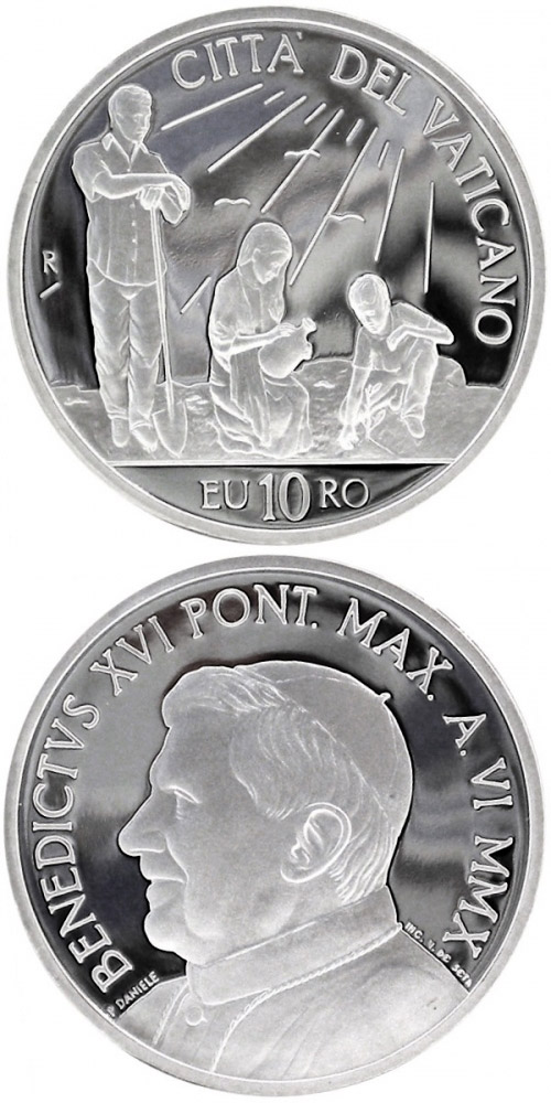 Image of 10 euro coin – 43rd World Day of Peace  | Vatican City 2010.  The Silver coin is of Proof quality.