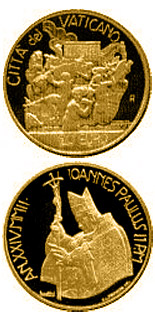 Image of 20 euro coin - Arche Noah - Abraham's Sacrifice  | Vatican City 2002.  The Gold coin is of Proof quality.