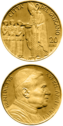 Image of 20 euro coin - The Sacraments of Christian Initiation - Confirmation  | Vatican City 2006.  The Gold coin is of Proof quality.