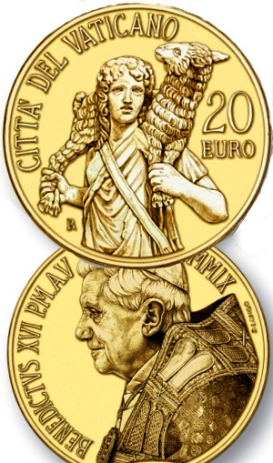 Image of 20 euro coin – Masterpieces of Sculpture - The Good Shepherd - Laocoon group  | Vatican City 2009.  The Gold coin is of Proof quality.
