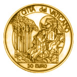 50 euro coin Moses Birth - The Ten Commandments  | Vatican City 2003