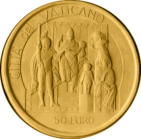 Image of David and Goliath - The Judgement of Solomon  – 50 euro coin Vatican City 2004.  The Gold coin is of Proof quality.