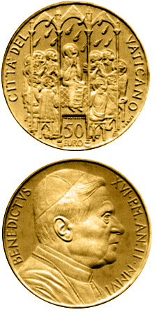 Image of The Sacraments of Christian Initiation - Confirmation  – 50 euro coin Vatican City 2006.  The Gold coin is of Proof quality.