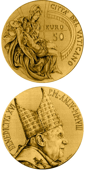 Image of 50 euro coin – Masterpieces of Sculpture - Torso of Belvedere - The Pieta by Michelangelo  | Vatican City 2008.  The Gold coin is of Proof quality.