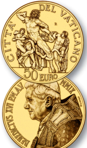 Image of 50 euro coin – Masterpieces of Sculpture - The Good Shepherd - Laocoon group  | Vatican City 2009.  The Gold coin is of Proof quality.