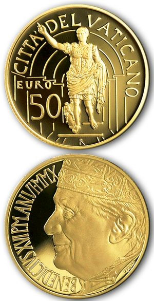 Image of 50 euro coin – Masterpieces of Sculpture – Apollo of Belvedere and Augustus of Prima Porta | Vatican City 2010.  The Gold coin is of Proof quality.