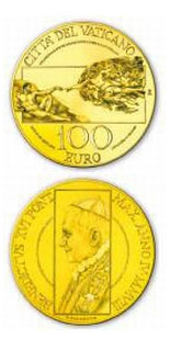 100 euro The Sistine Chapel - The Creation of Man  - 2008 - Series: Gold 100 euro coins - Vatican City