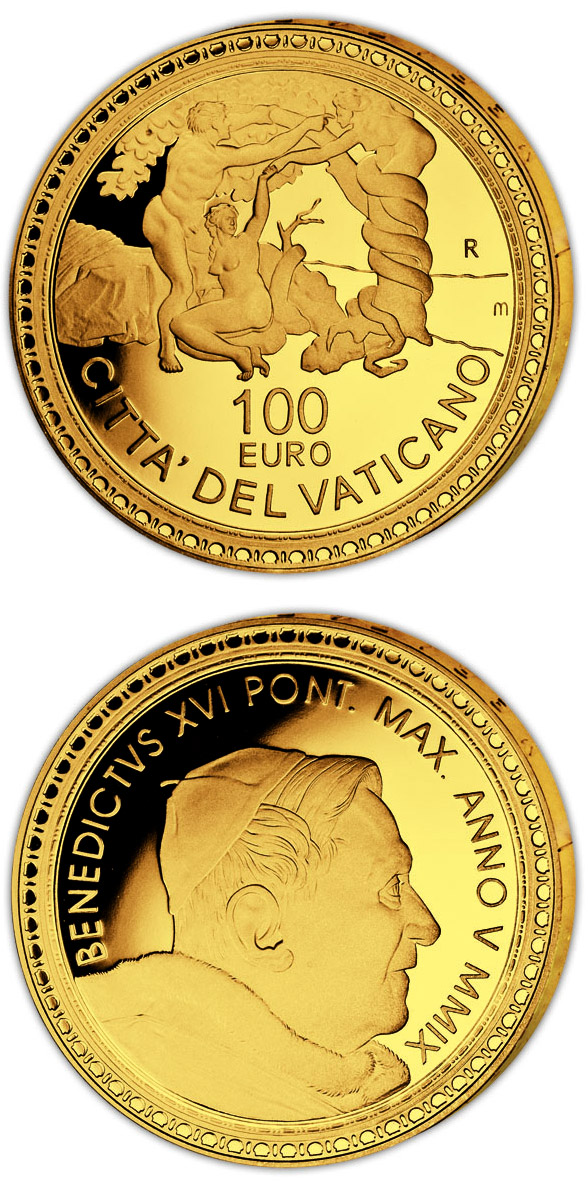 100 euro The Sistine Chapel - The Banishment from the Garden of Eden  - 2009 - Series: Gold 100 euro coins - Vatican City