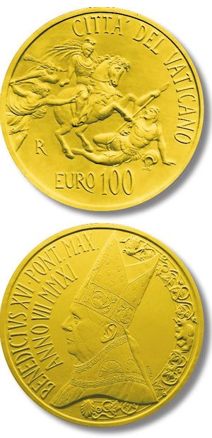 Image of 100 euro coin - The Stanze of Raphael - The Room of Heliodorus | Vatican City 2011.  The Gold coin is of Proof quality.