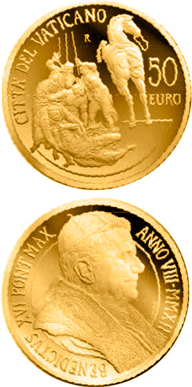 Image of 50 euro coin - Decennial of the Vatican Euro  | Vatican City 2012.  The Gold coin is of Proof quality.
