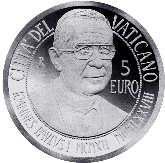 Image of 5 euro coin - Centenary of the Birth of John Paul I  | Vatican City 2012.  The Silver coin is of Proof quality.