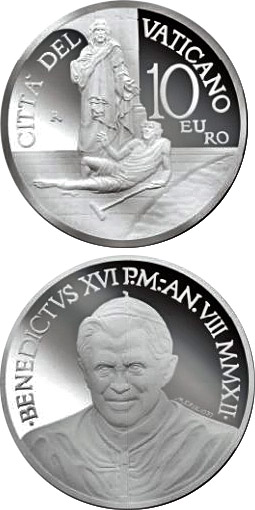 Image of 10 euro coin - 20th World Day of the Sick  | Vatican City 2012.  The Silver coin is of Proof quality.