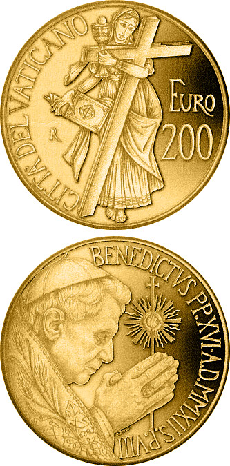200 euro The Theological virtues: Faith  - 2012 - Series: Gold 200 euro coins - Vatican City