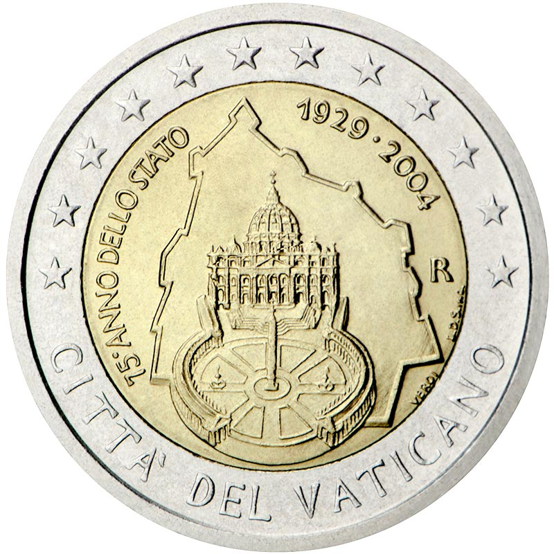 Image of 75th Anniversary of the Foundation of the Vatican City State – 2 euro coin Vatican City 2004