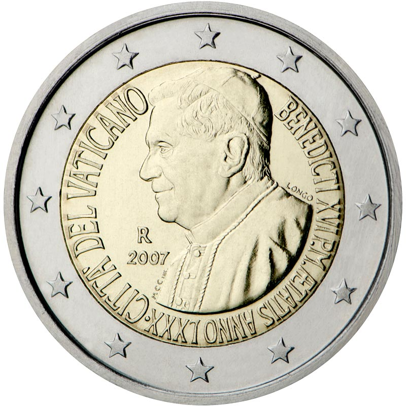 Image of a coin 2 euro | Vatican City | 80th birthday of His Holiness Pope Benedict XVI | 2007