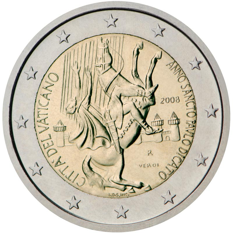Image of 2 euro coin – Paul the Apostle | Vatican City 2008