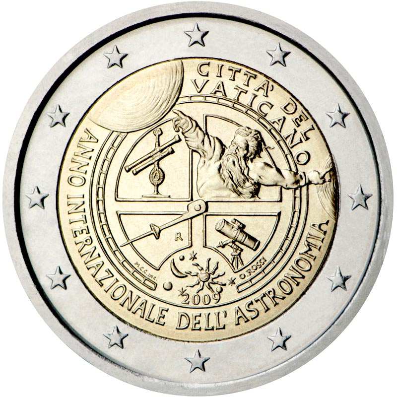 Image of 2 euro coin – International Year of Astronomy | Vatican City 2009