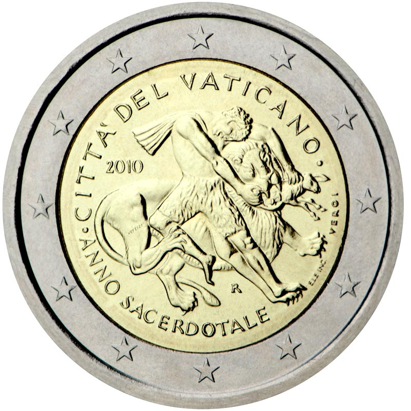 Image of a coin 2 euro | Vatican City | Year for priests | 2010