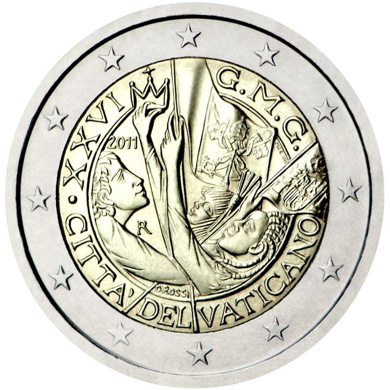 Image of 2 euro coin – XXVI World Youth Day Madrid 2011 | Vatican City 2011