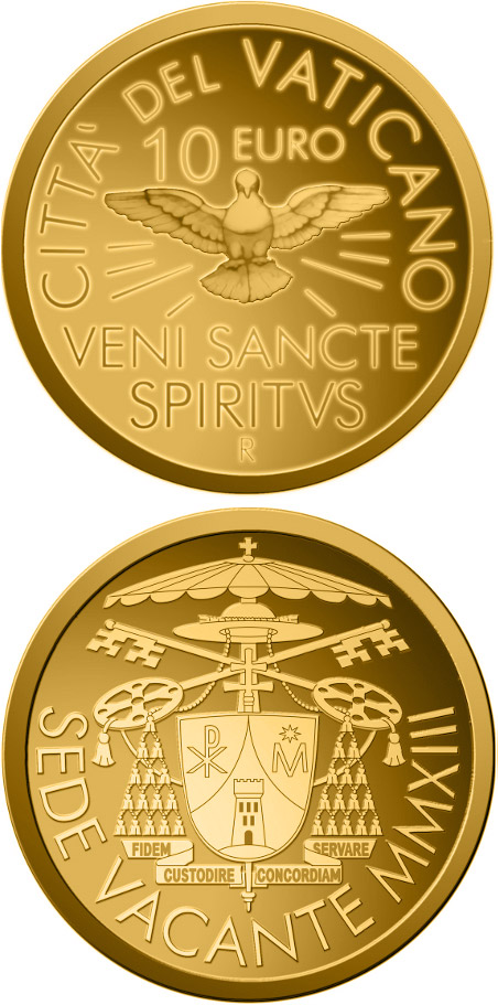 Image of 10 euro coin - Sede Vacante MMXIII | Vatican City 2013.  The Gold coin is of Proof quality.