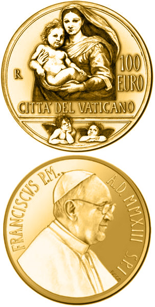 Image of a coin 100 euro | Vatican City | The Sistine Madonna | 2013