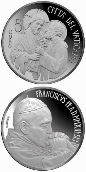 Image of 5 euro coin - Beginning of the Pontificate of Pope Francis | Vatican City 2013.  The Silver coin is of Proof quality.