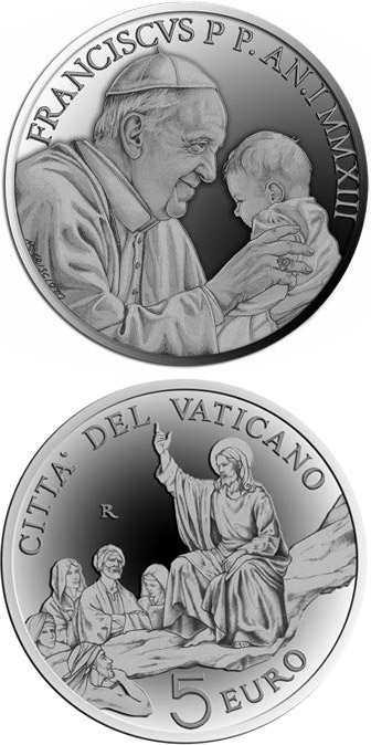 Image of 5 euro coin - Pontificate of Pope Francis | Vatican City 2013.  The Silver coin is of Proof quality.