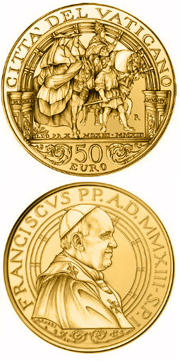 Image of 50 euro coin - Pontificate of Pope Francis | Vatican City 2013.  The Gold coin is of Proof quality.