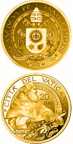 Image of 20 euro coin - Pontificate of Pope Francis | Vatican City 2013.  The Gold coin is of Proof quality.