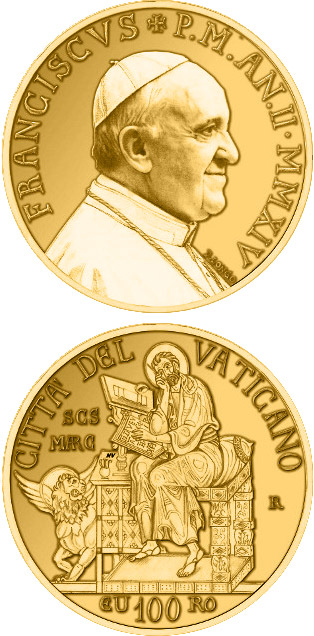 Image of 100 euro coin - The Evangelists: Saint Mark | Vatican City 2014.  The Gold coin is of Proof quality.