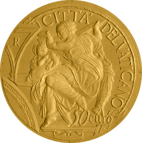 Image of 50 euro coin - 450th Anniversary of the Death of Michelangelo | Vatican City 2014.  The Gold coin is of Proof quality.
