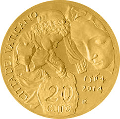 20 euro 450th Anniversary of the Death of Michelangelo  - 2014 - Series: Gold 20 euro coins - Vatican City