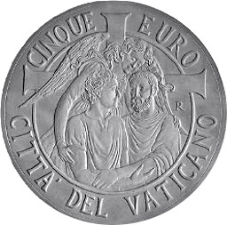 Image of 5 euro coin - 47th World Day of Peace  | Vatican City 2014.  The Silver coin is of Proof quality.