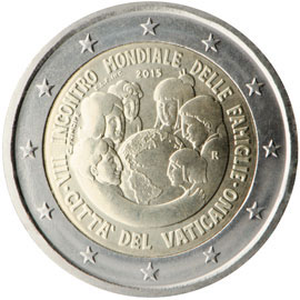Image of 2 euro coin - World Meeting Of Families 2015 | Vatican City 2015
