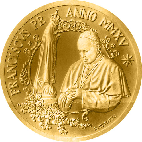 Image of 50 euro coin - Pope Francis MMXV | Vatican City 2015.  The Gold coin is of Proof quality.
