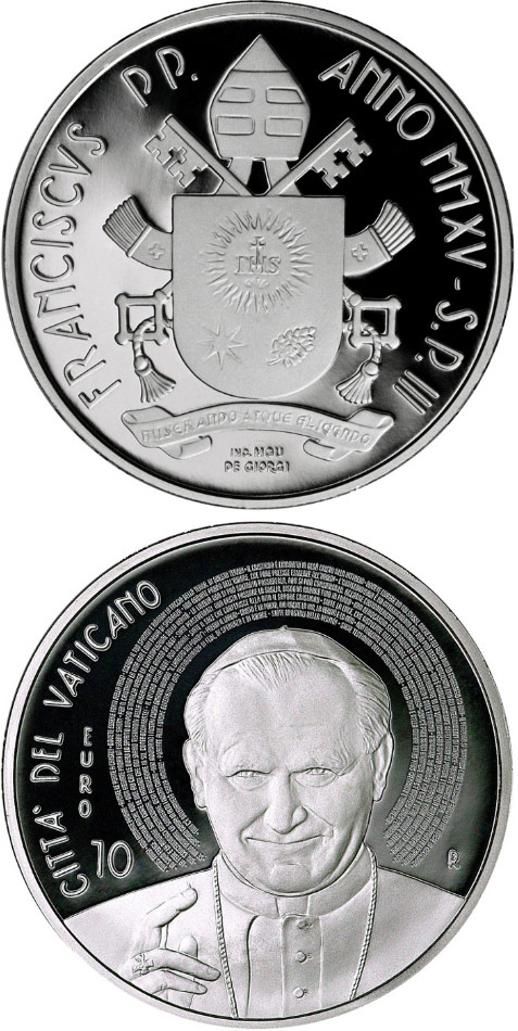 Image of 10 euro coin - 10th Anniversary of the Death of St. John Paul II | Vatican City 2015.  The Silver coin is of Proof quality.