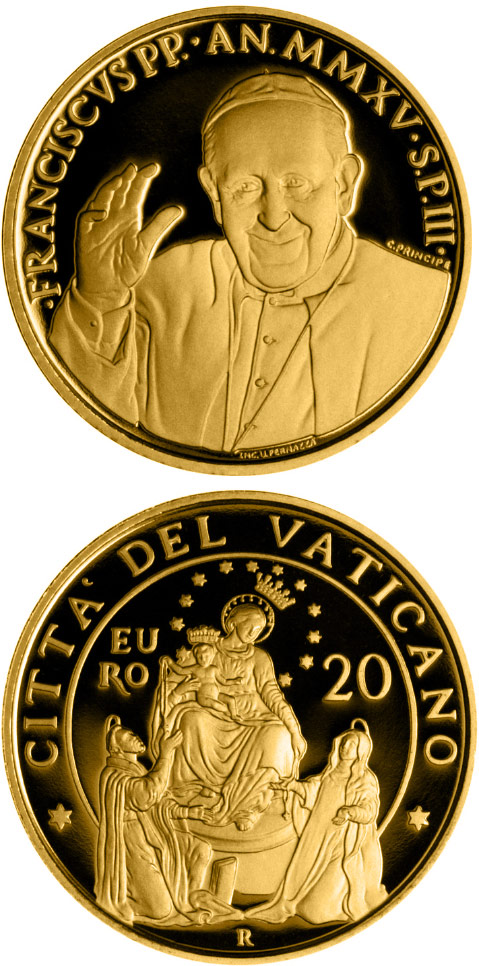 20 euro Pontifical Shrine of the Blessed Virgin of the Rosary of Pompeii - 2015 - Series: Gold 20 euro coins - Vatican City