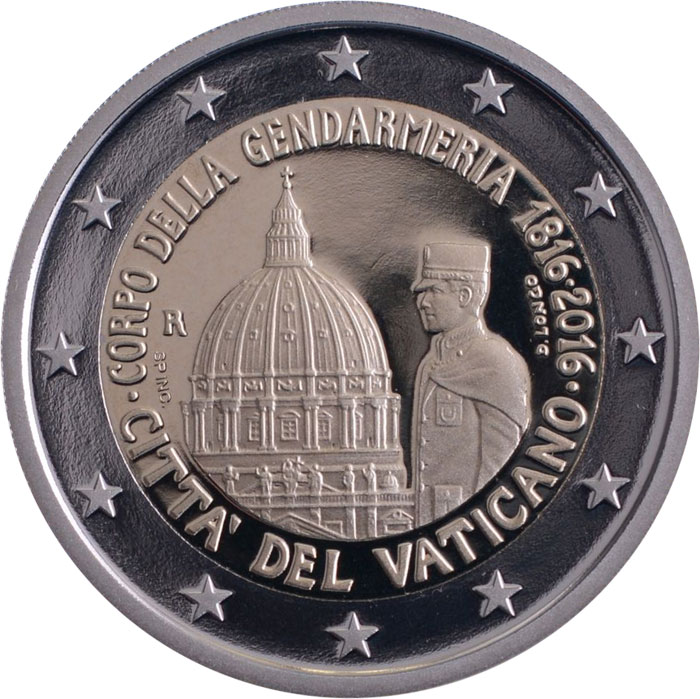 Image of 200th Anniversary of Corps of Gendarmerie of Vatican City – 2 euro coin Vatican City 2016