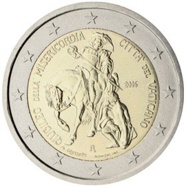 Image of 2 euro coin - Jubilee of Mercy | Vatican City 2016