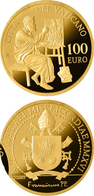Image of 100 euro coin - The Evangelists: Saint Luke | Vatican City 2016.  The Gold coin is of Proof quality.